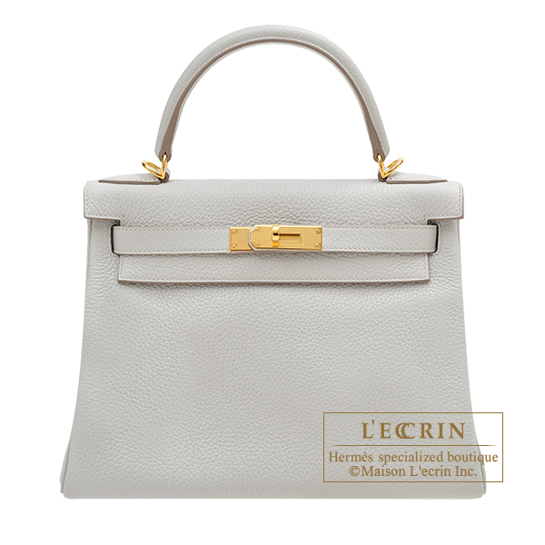 Hermes Kelly bag 28 Retourne Pearl grey Clemence leather Gold hardware