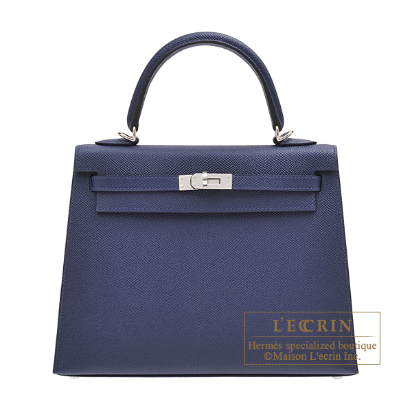 Hermes Kelly bag 25 Sellier Blue saphir Epsom leather Silver hardware