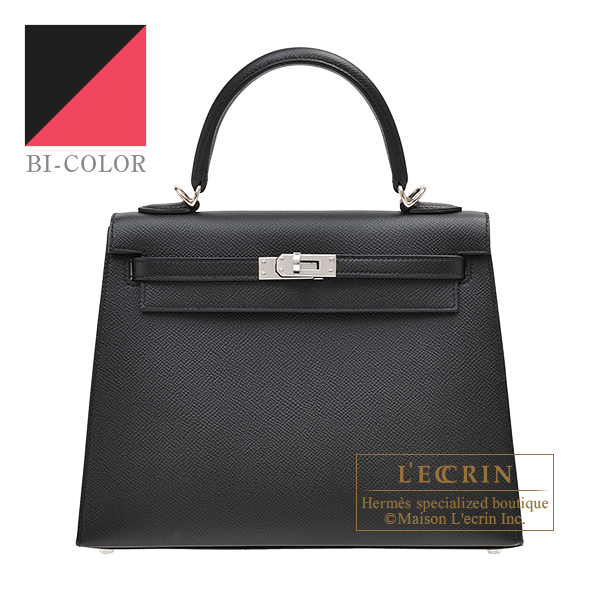 Hermes Personal Kelly bag 25 Sellier Black/Rose extreme Epsom leather Silver hardware