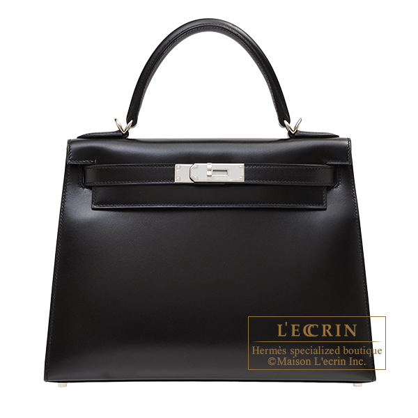 Hermes Kelly bag 28 Sellier Black Box calf leather Silver hardware