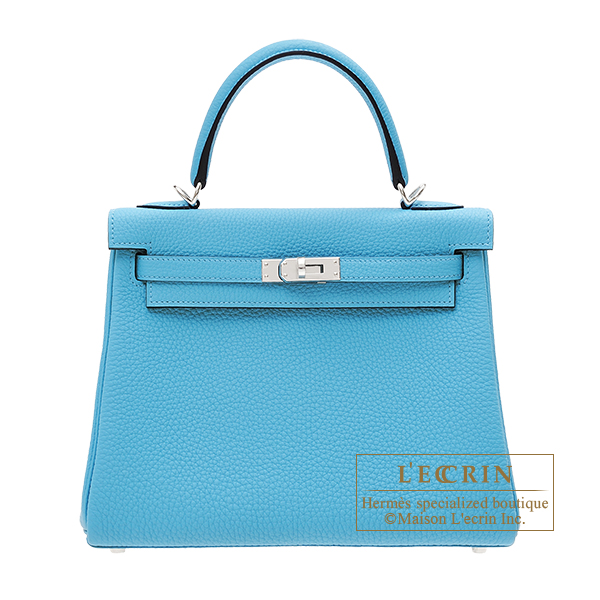 Hermes Kelly bag 25 Retourne Blue du nord Togo leather Silver hardware