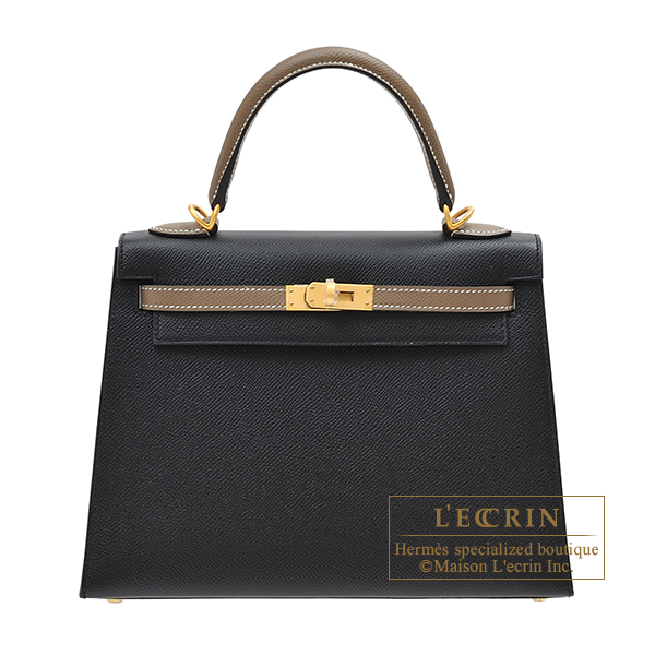 Hermes Personal Kelly bag 25 Sellier Black/Etoupe grey Epsom leather Matt gold hardware