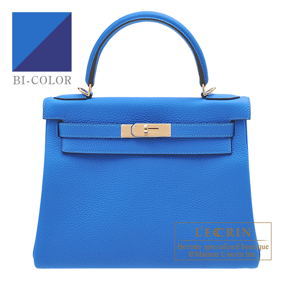 Hermes Personal Kelly bag 28 Retourne Blue hydra/ Blue saphir Clemence leather Champagne gold hardware
