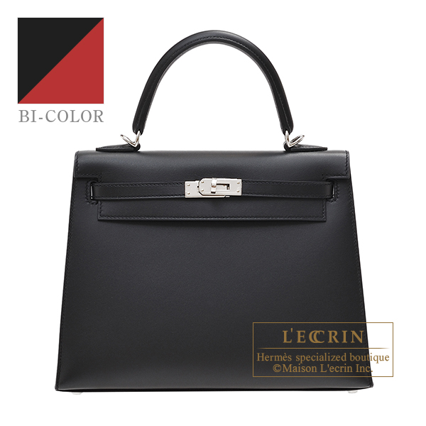 Hermes Personal Kelly bag 25 Sellier Black/Rouge grenat Sombrero leather Silver hardware