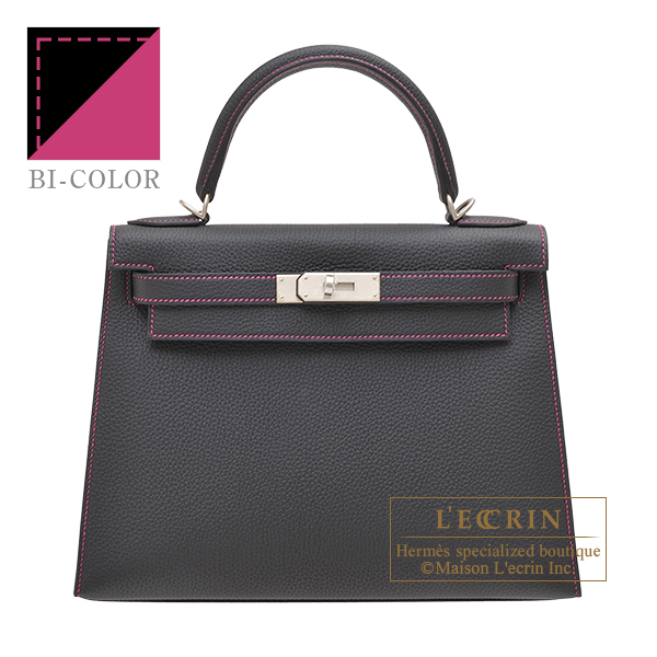 Hermes Personal Kelly bag 28 Sellier Black/ Rose purple Togo leather Matt silver hardware