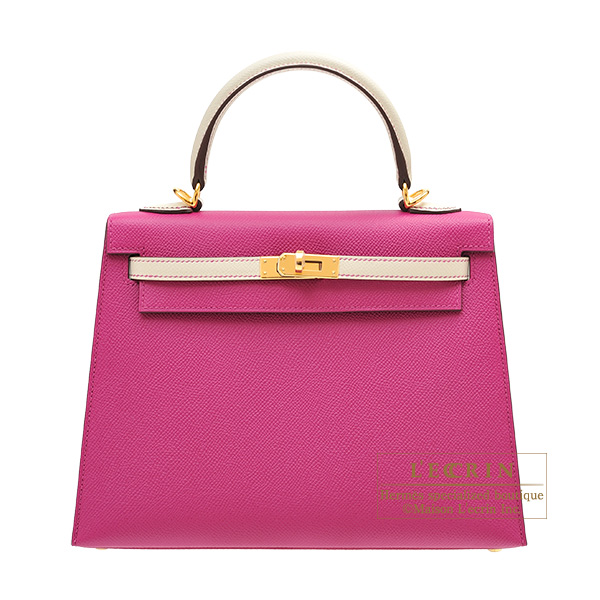 Hermes Personal Kelly bag 25 Sellier Rose purple/ Craie Epsom leather Gold hardware