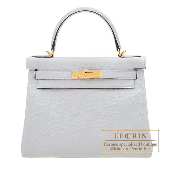 Hermes Kelly bag 28 Retourne Blue pale Clemence leather Gold hardware