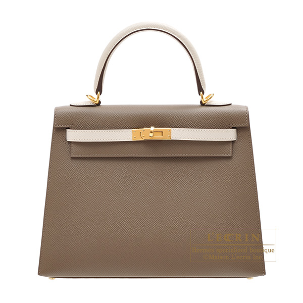 Hermes Personal Kelly bag 25 Sellier Etoupe grey/ Craie Epsom leather Gold hardware