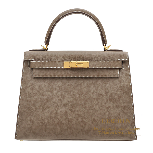 Hermes Personal Kelly bag 28 Sellier Etoupe grey Epsom leather Gold hardware
