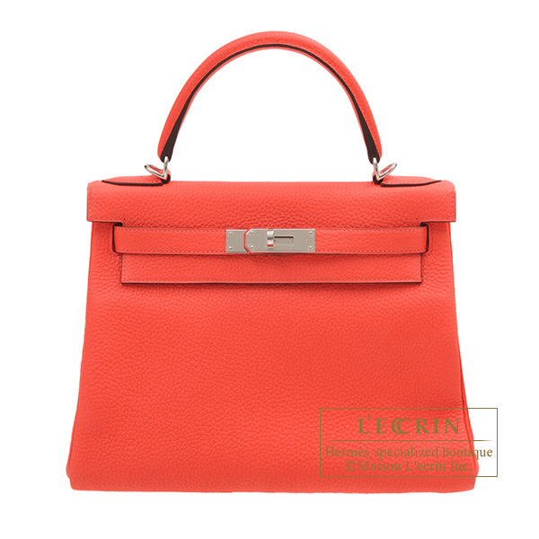 Hermes Kelly bag 28 Retourne Rose texas Clemence leather Silver hardware