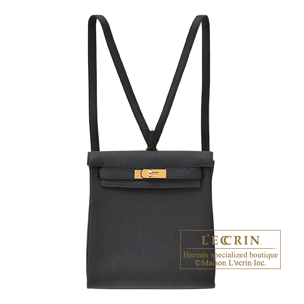 Hermes Kelly Ado PM Black Clemence leather Gold hardware