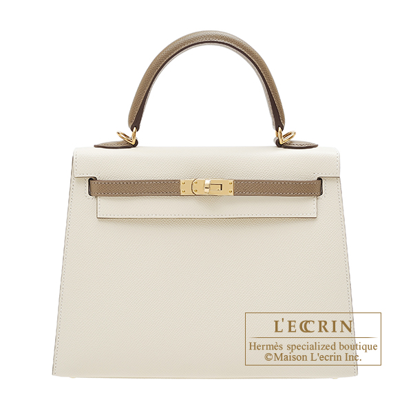 Hermes Personal Kelly bag 25 Sellier Craie/Etoupe grey Epsom leather Champagne gold hardware