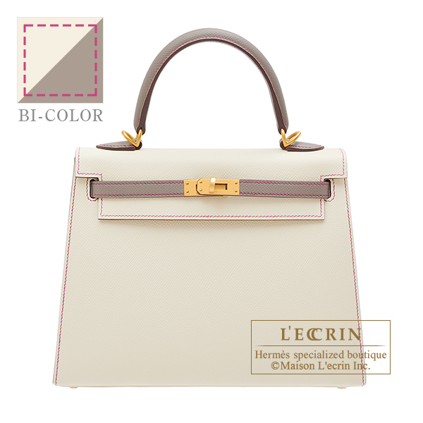 Hermes Personal Kelly bag 25 Sellier Craie/ Gris asphalt Epsom leather Matt gold hardware
