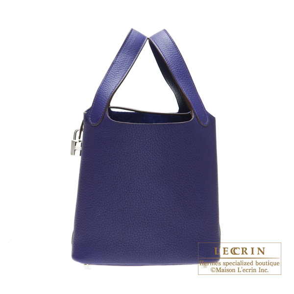 Hermes Picotin Lock bag PM Iris Clemence leather Silver hardware