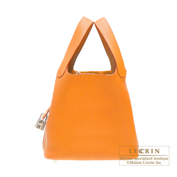 Hermes Picotin Lock bag PM Orange Clemence leather Silver hardware