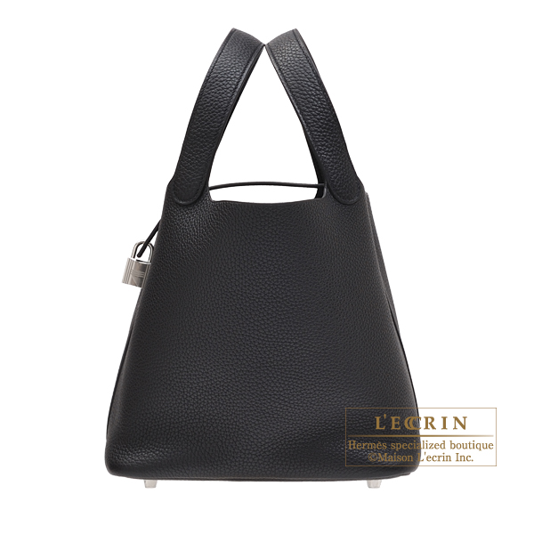 Hermes Picotin Lock bag MM Black Clemence leather Silver hardware