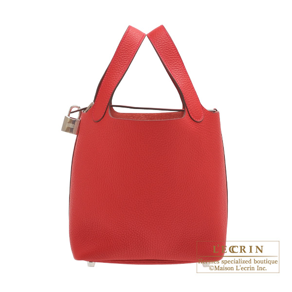 Hermes Picotin Lock bag PM Rouge casaque Clemence leather Silver hardware