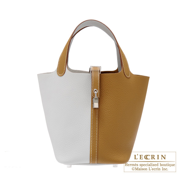 Hermes Picotin Lock casaque bag PM Bi-color Pearl grey/Kraft Clemence leather Silver hardware