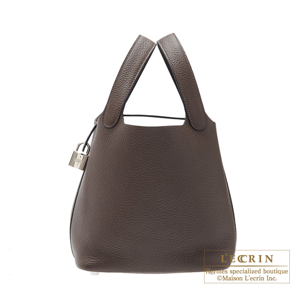 Hermes Picotin Lock bag PM Cafe Clemence leather Silver hardware