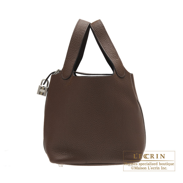Hermes Picotin Lock bag PM Chocolat Clemence leather Silver hardware
