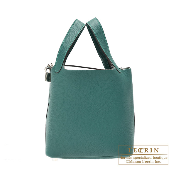 Hermes Picotin Lock bag PM Malachite Clemence leather Silver hardware