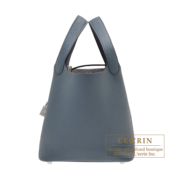 Hermes Picotin Lock bag PM Blue orage Clemence leather Silver hardware