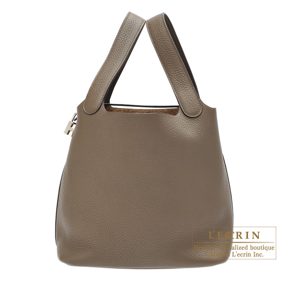 Hermes Picotin Lock bag MM Taupe grey Clemence leather Silver hardware