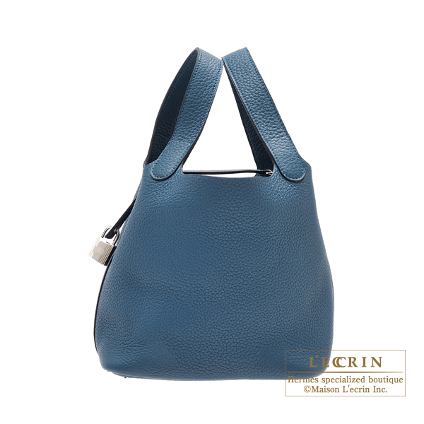 Hermes Picotin Lock bag PM Blue de presse Clemence leather Silver hardware