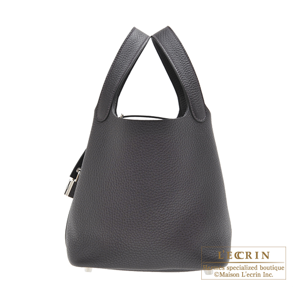 Hermes Picotin Lock bag PM Prunoir Clemence leather Silver hardware