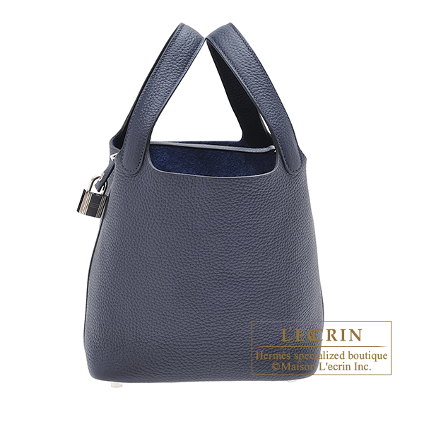 Hermes Picotin Lock bag PM Blue nuit Clemence leather Silver hardware
