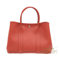 Hermes Garden Party bag PM Quadrige Rouge duchesse Country leather Silver hardware