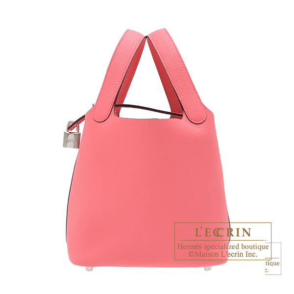 Hermes Picotin Lock bag PM Rose azalee Clemence leather Silver hardware