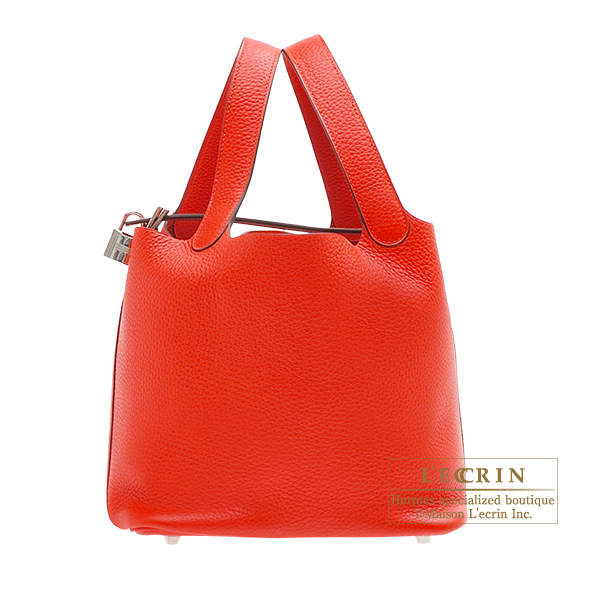Hermes Picotin Lock bag MM Rouge tomate Clemence leather Silver hardware