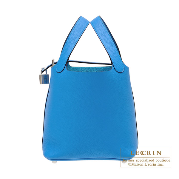 Hermes Picotin Lock bag PM Blue zanzibar Clemence leather Silver hardware