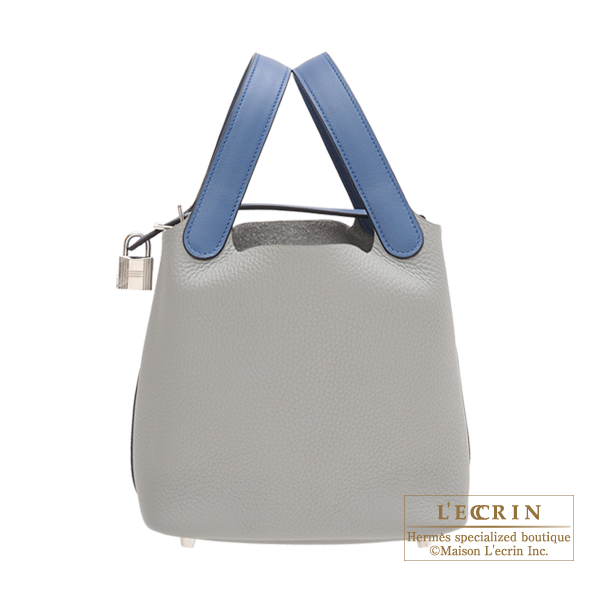 Hermes Picotin Lock Touch bag PM Gris mouette/ Blue agate Clemence leather/ Swift leather Silver hardware