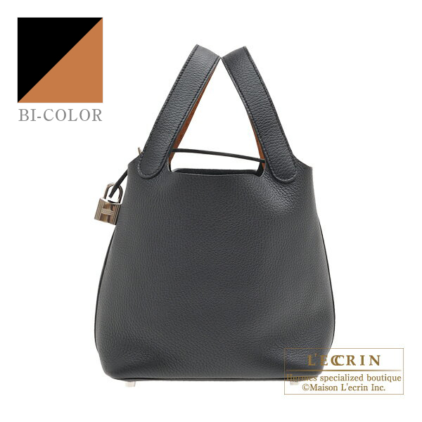 Hermes Picotin Lock Eclat bag PM Black/Toffee Clemence leather/Swift leather Silver hardware