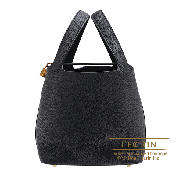 Hermes Picotin Lock bag MM Black Clemence leather Gold hardware