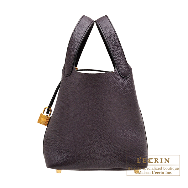 Hermes Picotin Lock bag PM Raisin Clemence leather Gold hardware