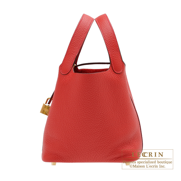 Hermes Picotin Lock bag PM Rouge casaque Clemence leather Gold hardware