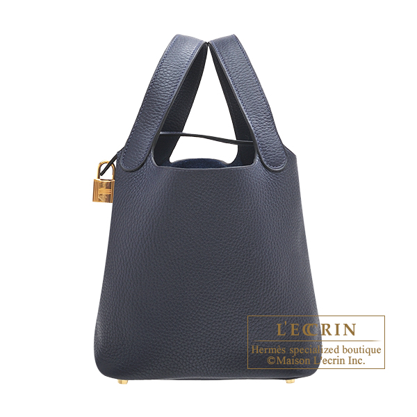 Hermes Picotin Lock bag PM Blue nuit Clemence leather Gold hardware
