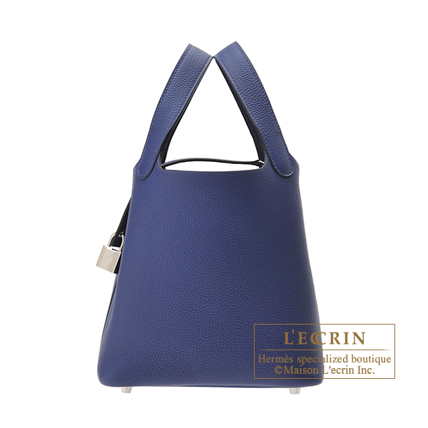 Hermes Picotin Lock bag PM Blue saphir Maurice leather Silver hardware