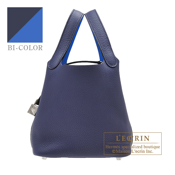 Hermes Picotin Lock Eclat bag PM Blue encre/ Blue zellige Clemence leather/Swift leather Silver hardware