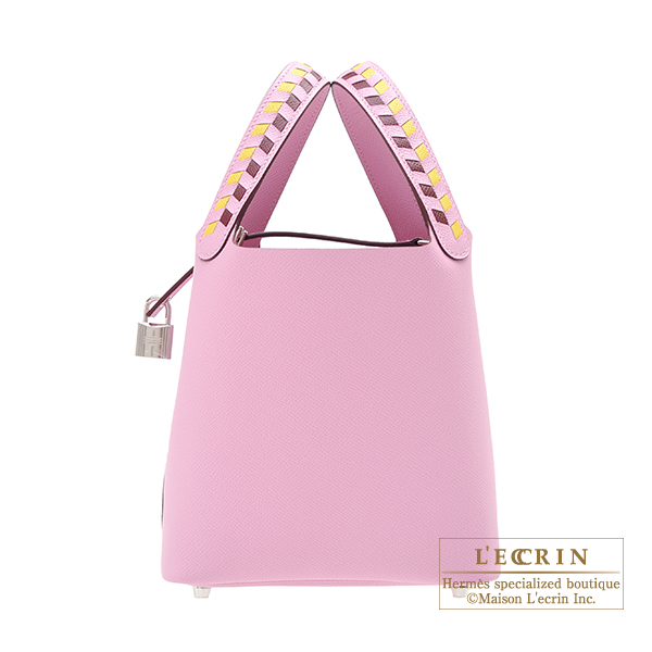 Hermes Picotin Lock Tressage De Cuir bag PM Mauve sylvestre/ Jaune de naples/Rouge H Epsom leather Silver hardware