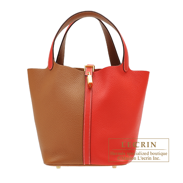 Hermes Picotin Lock casaque bag MM Rouge coeur/ Gold Clemence leather Gold hardware