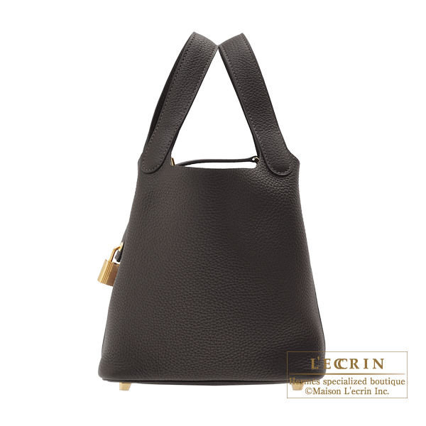 Hermes Picotin Lock bag PM Ebene Clemence leather Gold hardware