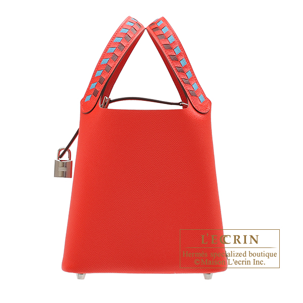 Hermes Picotin Lock Tressage De Cuir bag PM Rouge coeur/Blue du nord/Rouge H Epsom leather Silver hardware