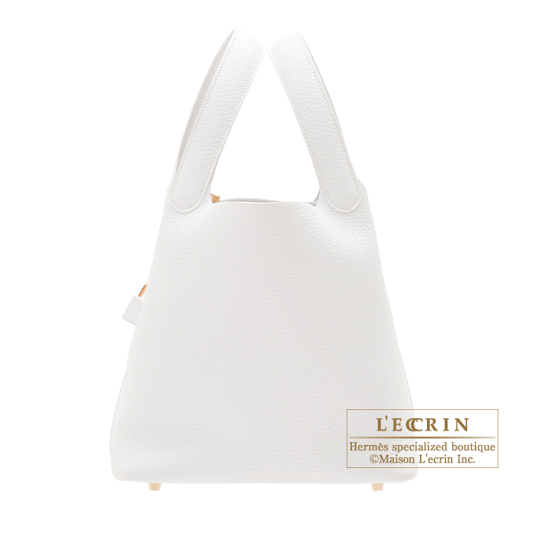 Hermes Picotin Lock bag MM White Clemence leather Gold hardware