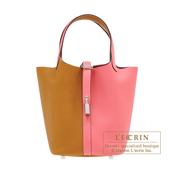 Hermes Picotin Lock casaque bag PM Bi-color Rose azalee/ Sesame Clemence leather Silver hardware