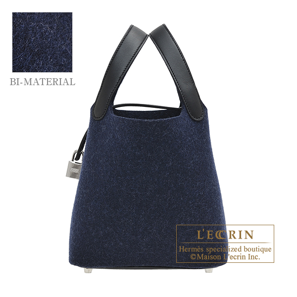 Hermes Picotin Lock bag PM Blue nuit/ Black Felt/ Swift leather Silver hardware
