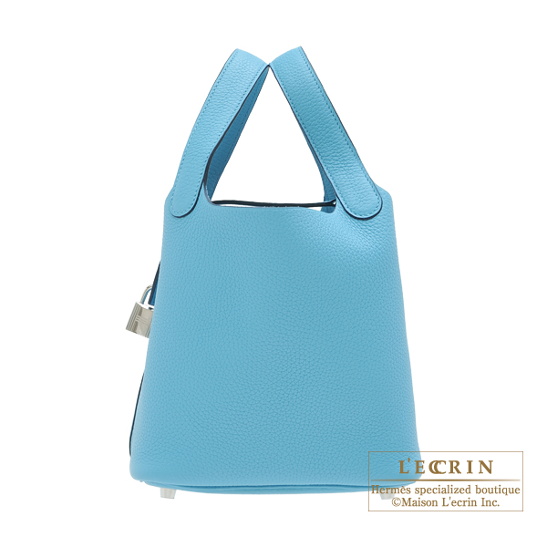 Hermes Picotin Lock bag PM Blue du nord Clemence leather Silver hardware